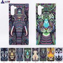 Luxo floresta rei asteca animais enfrenta leão lobo coruja padrão macio tpu telefone capa protetora para samsung galaxy note 10 plus