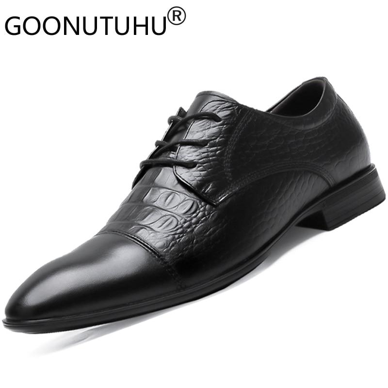 2019 nouvelle mode hommes chaussures habillées en cuir véritable mâle belle classique noir chaussure homme travail bureau chaussures formelles pour hommes taille 36-50