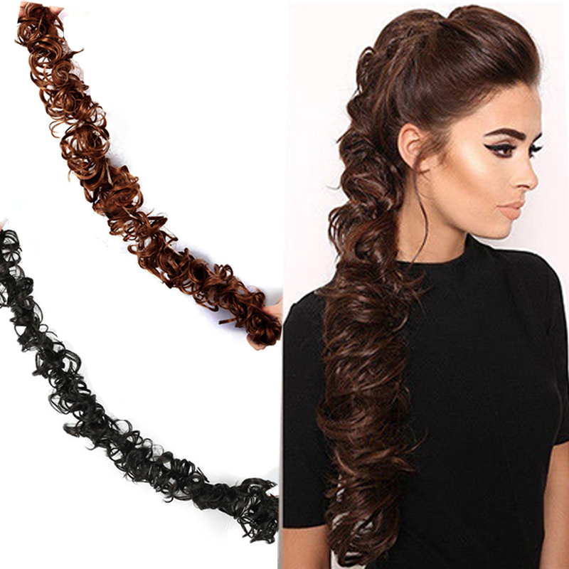 LUPU Black Brown Curly Chignon Synthetic Hair Extension With Elastic Band Fake Hairpieces Bun Heat Resistant Fiber For Womens