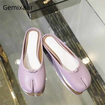 Chic Spring 2020 Genuine Leather Outwear Mules Individual Split Toe Little Bowtie Flat Slippers Women Zapatos Mujer