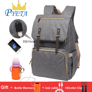 Image 1 - Diaper Bag USB Baby Nappy Bag Mummy Daddy Backpack Large Capacity Waterproof Casual Laptop Bag Rechargeable Holder for Bottle