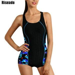 Image 1 - Riseado ספורט שחייה חליפות נשים חתיכה אחת בגד ים 2020 רייסר חזרה בגדי ים נשים Boyleg טלאים רחצה חליפות