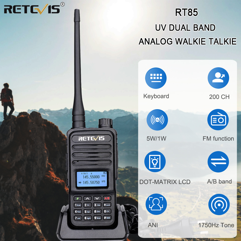 Retevis RT85 Analog Walkie Talkie UV Dual Band 5W Handheld Two Way Radio with Screen Keyboard VOX FM Radio Portable Transceiver