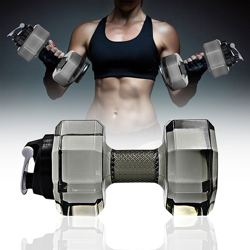 2.2L Dumbbell Shape Water Bottle Sports Fitness Exercise Water Jug Portable Portable Gym Yoga Running Outdoors Cycling Camping