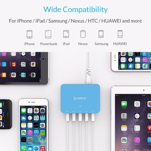 Image 4 - ORICO 5 Port Desktop Charger With Power Adapter 5V 2.4A USB Charger for Xiaomi Huawei Pad iPhone Samsung Charging