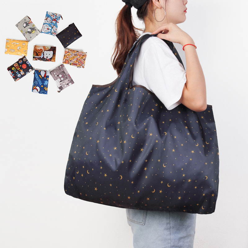 MABULA Eco friendly Cartoon Grocery Foldable Tote Handbag Reusable Portable two Size Washable Portable Travel Shopping Bags