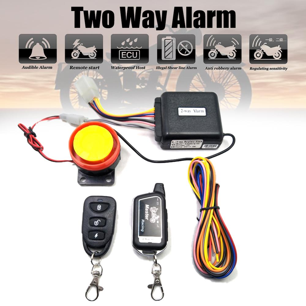 Two Way Alarm Motorcycle Scooter Security 2 Way Alarm Remote Control Engine Start Vibration Alarm Lock System 125dB