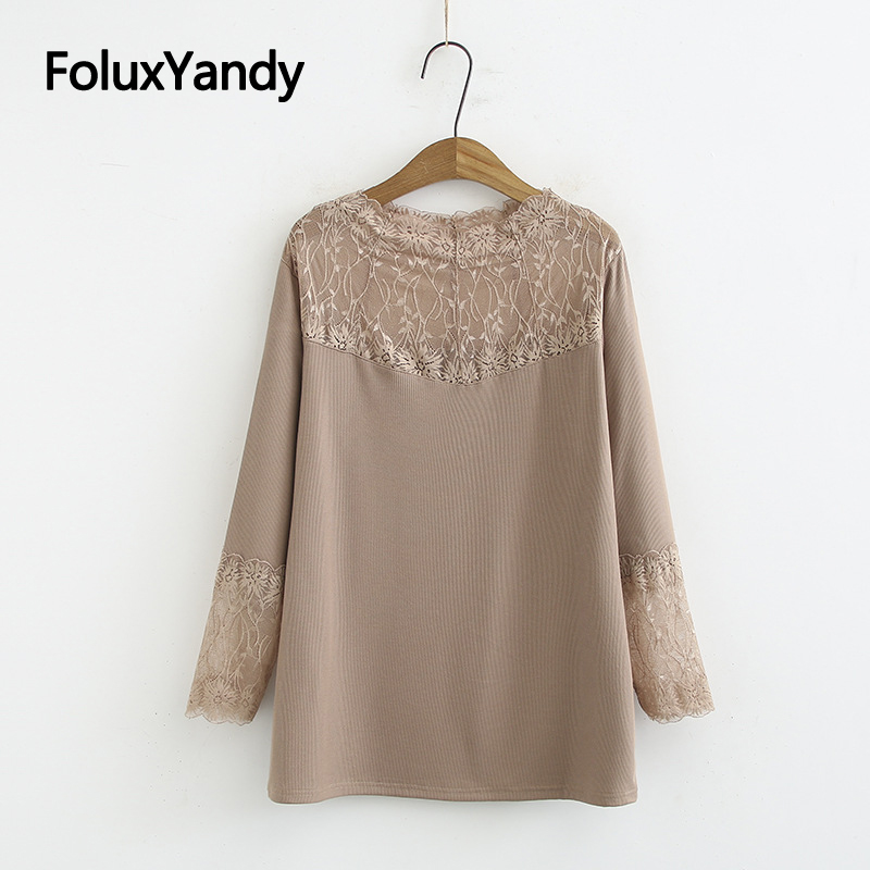Spring Autumn Tops Women Long Sleeve T-shirt Plus Size 3 4 <font><b>5</b></font> <font><b>6</b></font> XL Patchwork Casual Lace Tops KKFY4277 image