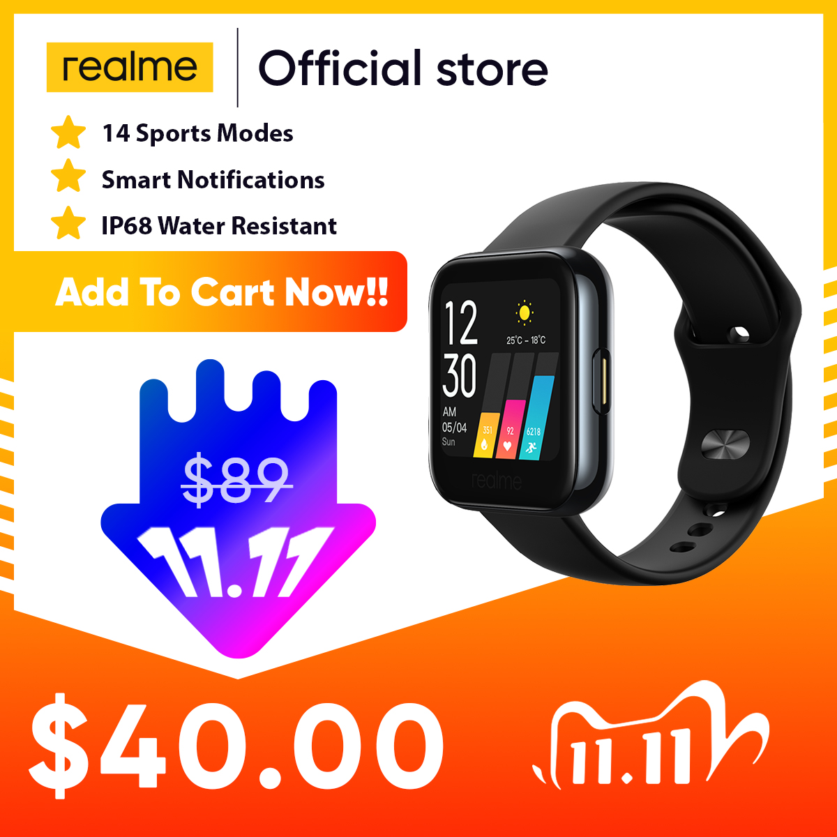 realme Watch Smart Watch 1 4inch Touchscreen Personalized Watch Faces Heart Rate Blood-oxygen Monitor Notifications IP68 Sports