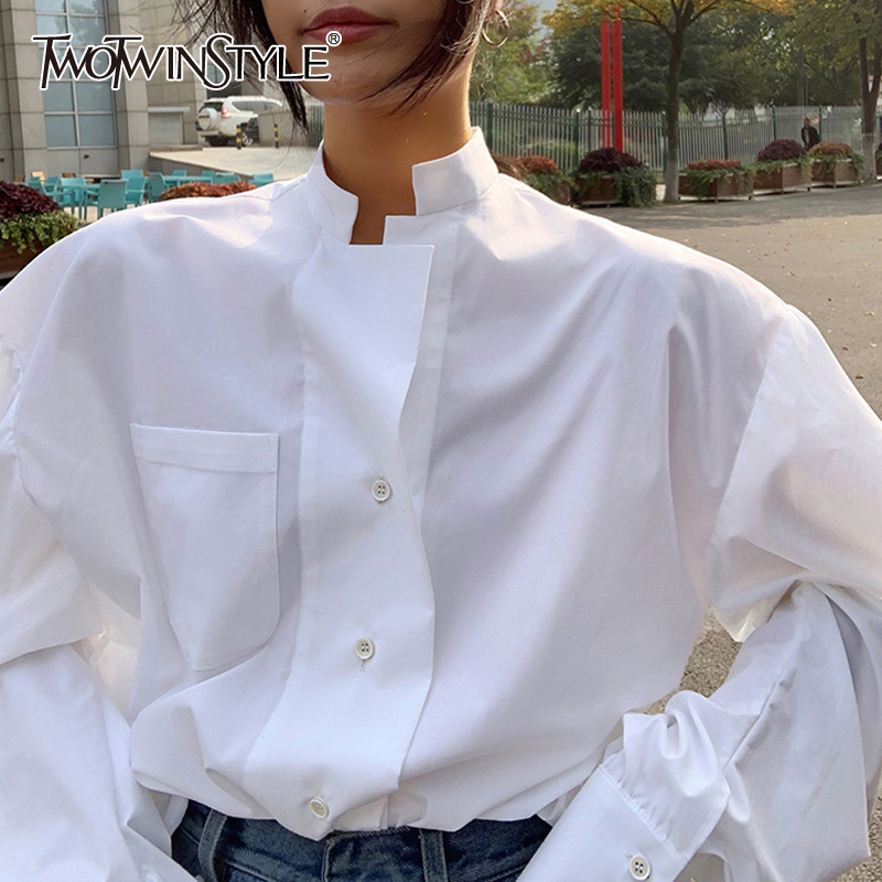 TWOTWINSTYLE Elegant Perspective Women's Shirt Stand Collar Puff Long Sleeve Large Size Loose Blouse Female 2020 Fashion New