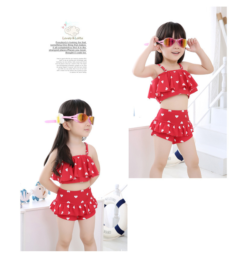 New Style Girls Polka Dot Camisole Two-piece Swimsuits Play Water Snorkeling Quick-Dry Bathing Suit