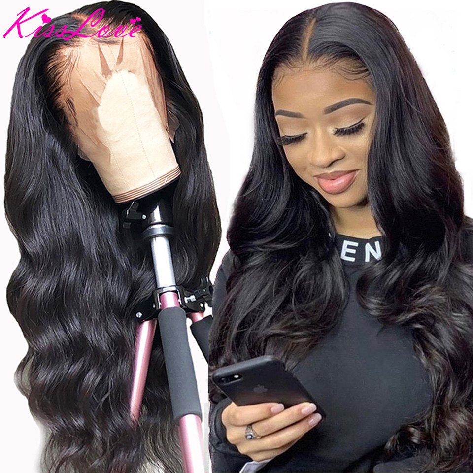 Brazilian Hair Wigs 360 Lace Frontal Wigs Pre Plucked With Baby Hair Body Wave 13x4 Lace Front Human Hair Wigs Remy Kiss Love