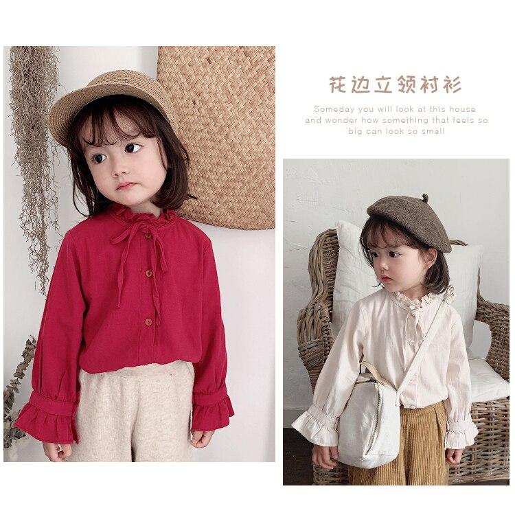 2019 girls Autumn cotton shirt new children trumpet long sleeves tops