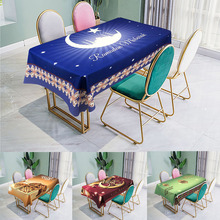 Muslim Eid Mubarak Print Tablecloth Waterproof Rectangle Cotton Linen Prayer Dining Table Cloth Ramadan Kareem Decoration
