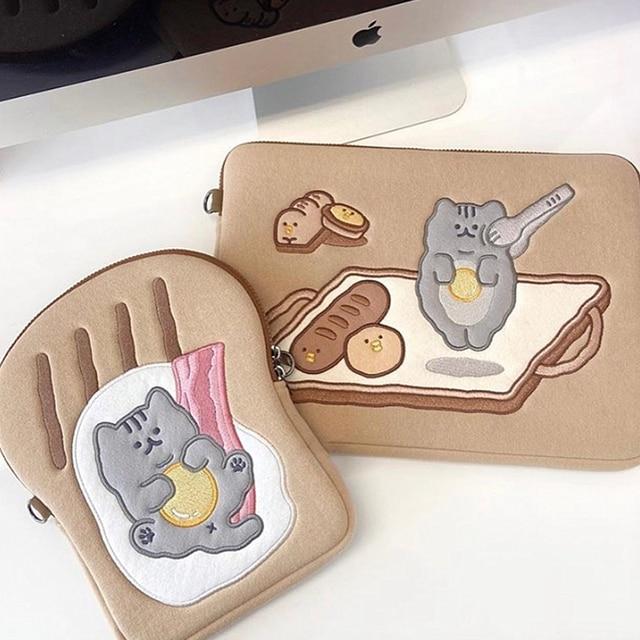 Tablet case laptop storage bag For Mac Ipad pro 9.7 11 13inch Cartoon toast cat sleeve liner bag student girls Case 2