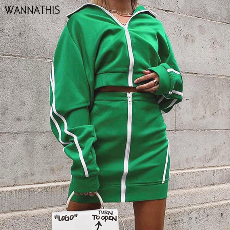 WannaThis Women 2-Pieces Zipper Turtleneck Pullover Crop Top And Skirt Slim Green Spliced Stripe Casual Autumn Streetwear Sets