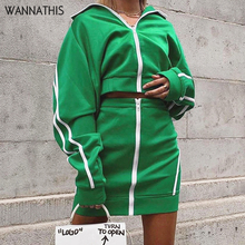 WannaThis Women 2-Pieces Zipper Turtleneck Pullover Crop Top and Skirt Slim Green Spliced Stripe Casual Autumn Streetwear Sets