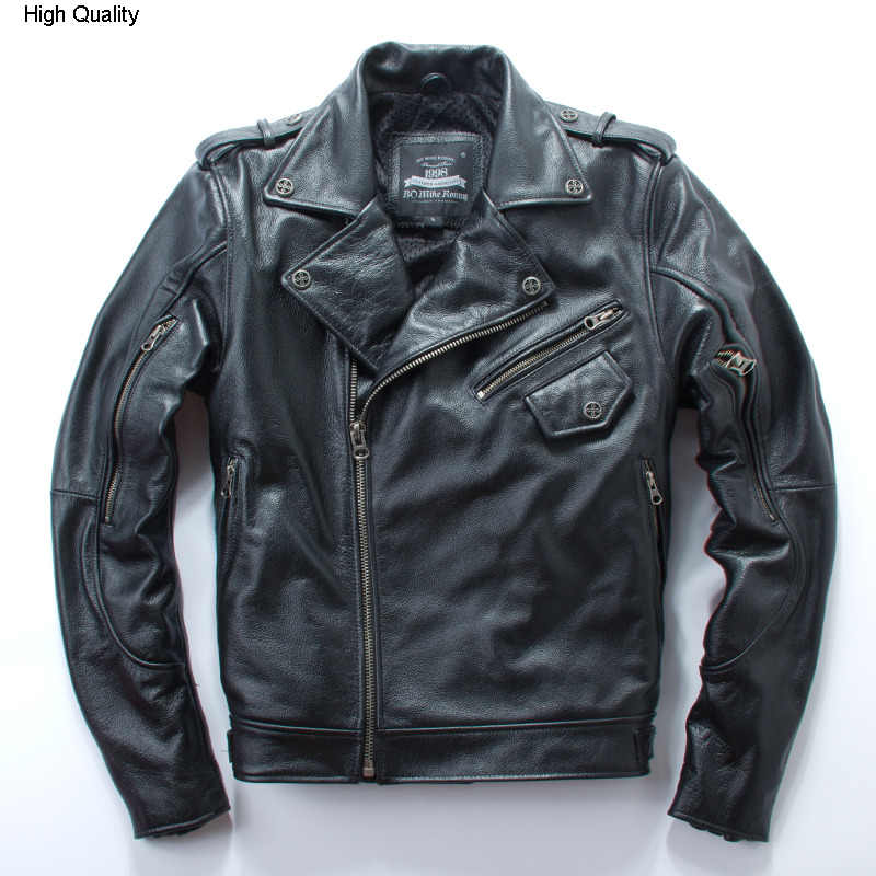 Mens Leather Jacket Cowhide Motorcycle Clothing Lapel Oblique Zipper Letter Embroidery Autumn Winter Coat