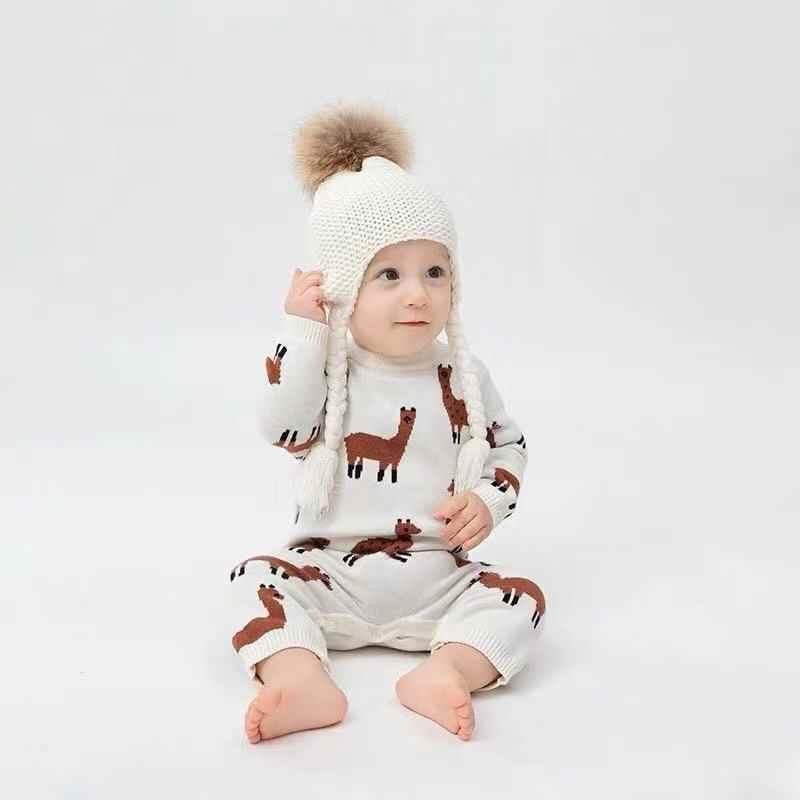 TinyPeople nieuwe Alpaca gebreide baby romper winter kleding voor pasgeboren warm jongens jumpsuit meisje onesie baby modieuze kleding
