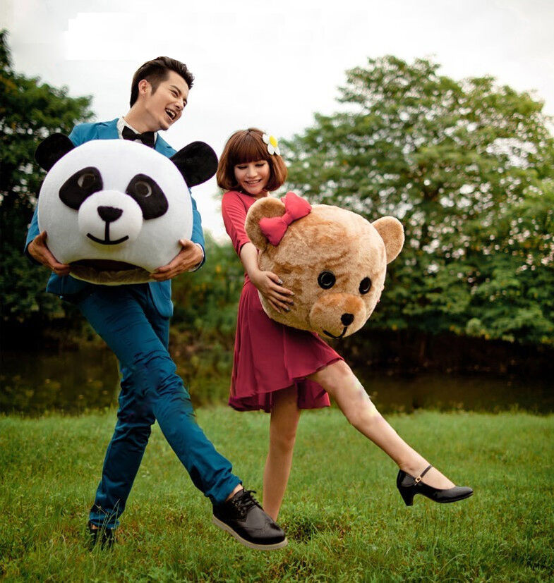 Хэллоуин любовник головы Панда и медведь маскарадный костюм нарядное платье Свадебная вечеринка реквизит взрослый Косплей наружная голов... - 3