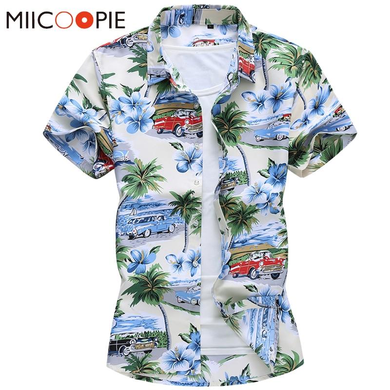 Men Fashion 2020 New Red Car Printed Mens Hawaiian Shirt Streetwear Holiday Casual Short Sleeved Floral Camisa Plus Size M-7XL