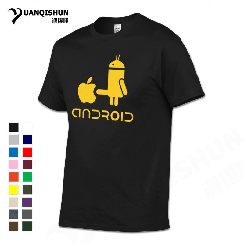 YUANQISHUN Creative Design Spoof Android Robot Funny Print Men s T Shirt 2019 New 100 Cotton