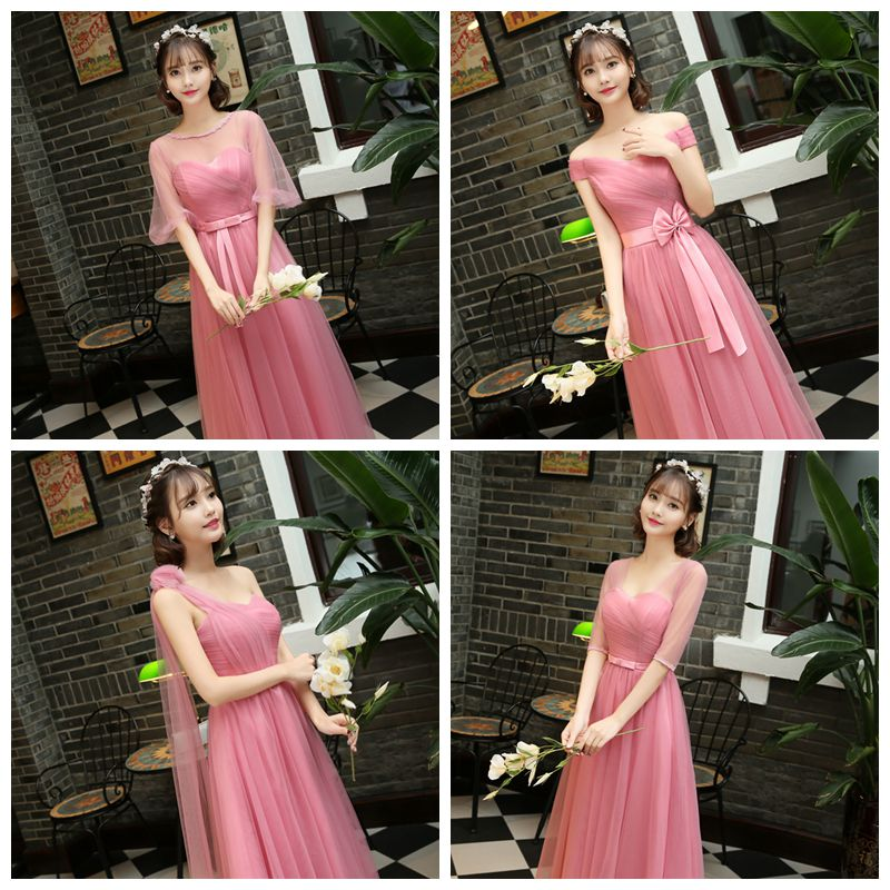 Burgundy Bridesmaid Dresses Bride Sisters Long Wedding Party Graduation Pink Princes Tulle Floor-Length Promnew Years Eve Dress