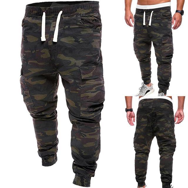 De talla grande de los hombres pantalones de camuflaje militar pantalones Multi bolsillos de carga pantalones de jogging ropa Streetwear Pantalones 3