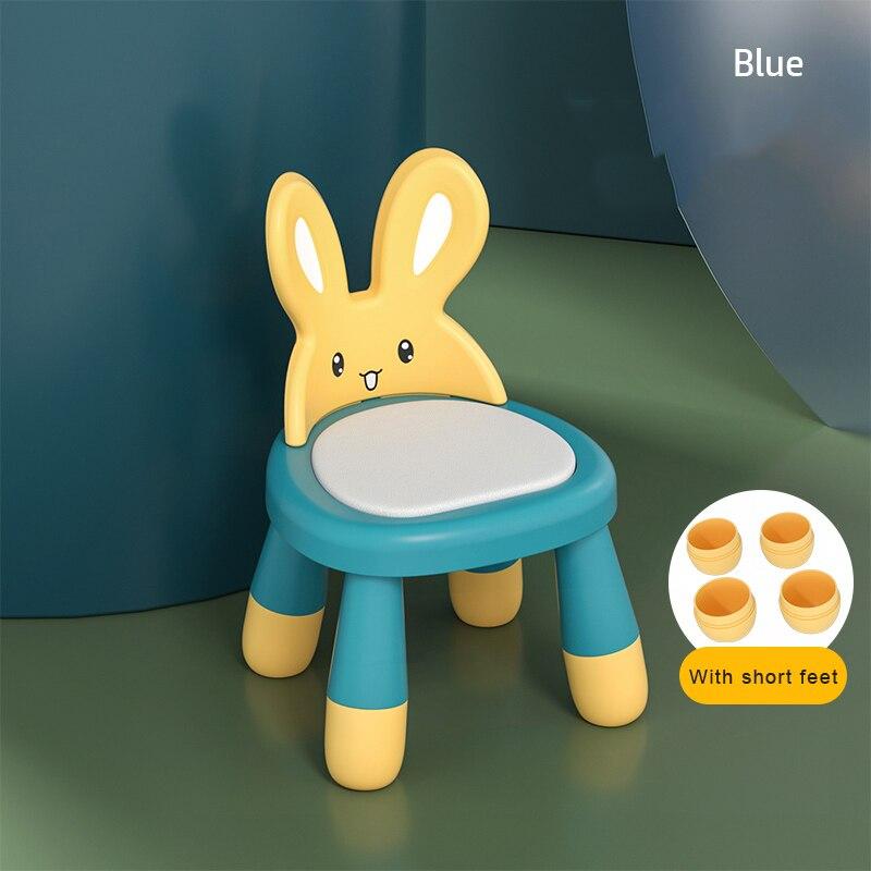 High Quality Plastic Small Chair Non-Slip Dining Chair for Baby Kids Children Stool Rabbit Crown Backrest стол и стул для детей