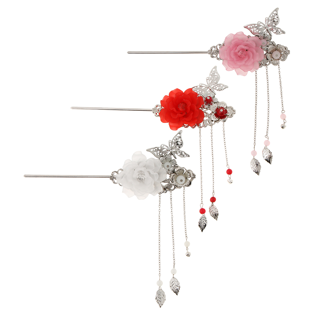 Ancient Chinese Japanese Styled Floral Hair Stick Hairpin Tassel Kanzashi Chignon Headpiece For Geisha Kimono Fancy Dress