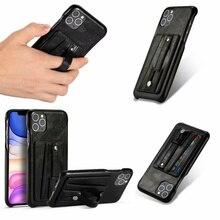 فاخر خمر بولي leather الجلود فتحة للبطاقات قوس الهاتف حقيبة لهاتف أي فون 7 8 Plus X XR XS ماكس 11 11Pro ماكس ظهر هاتف محمول غطاء