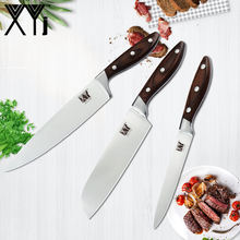 XYj 3pcs Stainless Steel Knives 7CR17 High Carbon Sharp Blade Color Wood Handle Chef Santoku Utility Knives Cooking Tools(China)