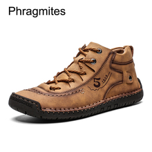 Phragmites PU Leather Comfortable Shoes Men Sneakers Autumn Winter Fashion Men Boots Fasten Sewing Winter Shoes Worker Safe Bota