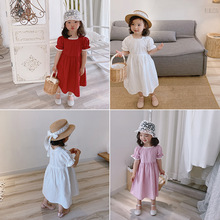 Toddler Child Girl Dress Korean Style Kid Clothes Solid Color Short Sleeve Cute Lace Princess Dress Summer 1-7Y Children Outfits baby girl clothes princess dress clothes short sleeve lace bow ball gown tutu party dress toddler kids fancy dress 0 7y