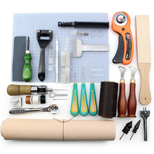 High Quality Tools for Leather Craft Sewing DIY Hand Stitching with Groover Awl Edge Creaser Mat Tools for Leather Working New