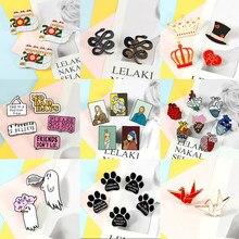 2 ~ 7 sztuk/zestaw kreatywny broszki Cartoon obraz olejny serce pies łapa duch plakietka emaliowana modna koszula torba przypinki na klapę biżuteria prezent