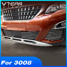 Vtear For Peugeot 3008 3008GT Accessories Exterior car Grille Grills Trim Strip stainless steel refit Product 2018 2019 2020