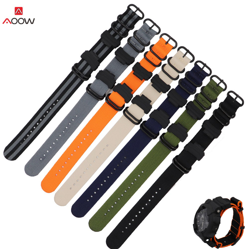 Nylon NATO Watchband For Casio GD-110/ 100/120, GA-100/110/400, DW-5600,GW-6900 Black Buckle Bracelet Band Strap With Adapters