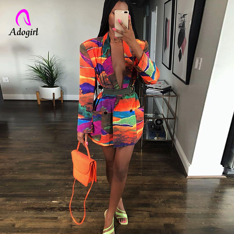 Graffiti Printing Blazers Women New Winter Autumn Notched Long Sleeve Vintage Office Lady Outfits High Street Tailored Coat 2019
