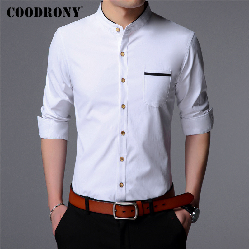 COODRONY Long Sleeve Shirt Men Clothes Spring Autumn Mens Shirts Business Casual Gentleman Camisa Social Masculina Pocket C6022