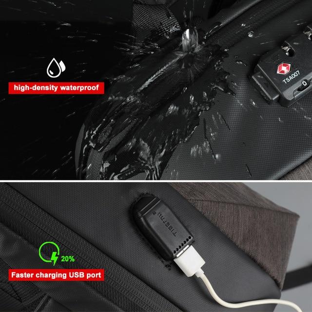 No Key Anti theft TSA Lock Fashion Men Backpacks 15.6inch USB   2