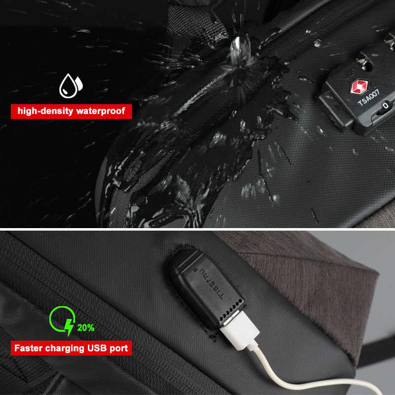 Pas de clé Anti-vol TSA serrure mode hommes sacs à dos 15.6 pouces USB charge ordinateur portable mâle Mochila 18L collège école sac à dos pour garçons