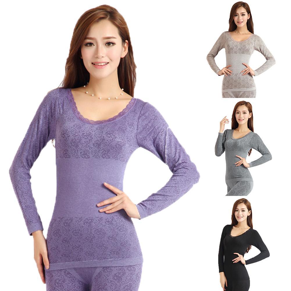 2 Piece Set Women Winter Thermal Underwear High Elasticity O-Neck Top Long Johns Pajama Set