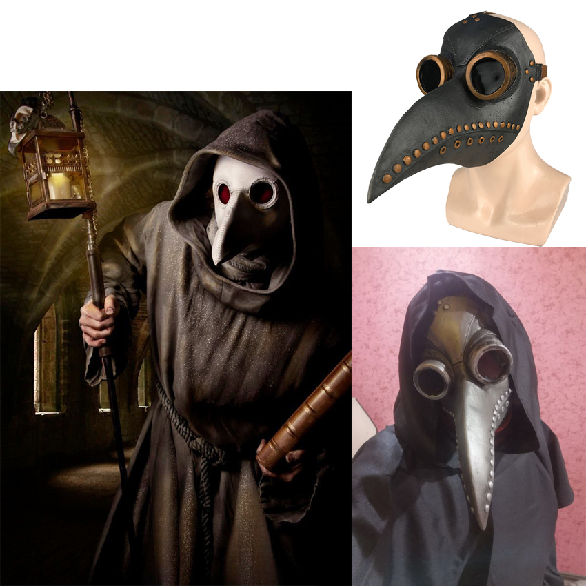 Image 3 - Plague Doctor Costumes for Men Monk Cosplay Plague Doctor Maske Steampunk Robe Priest horror Wizard Halloween Witch Dress WomenScary Costumes   -