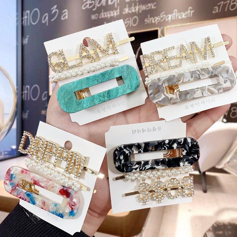 1Set Letters Rectangular Hairpin For Women  Fashion Korea  Pearl Hair Clips Girls Geometric  Lady Barrette Hair Accessories