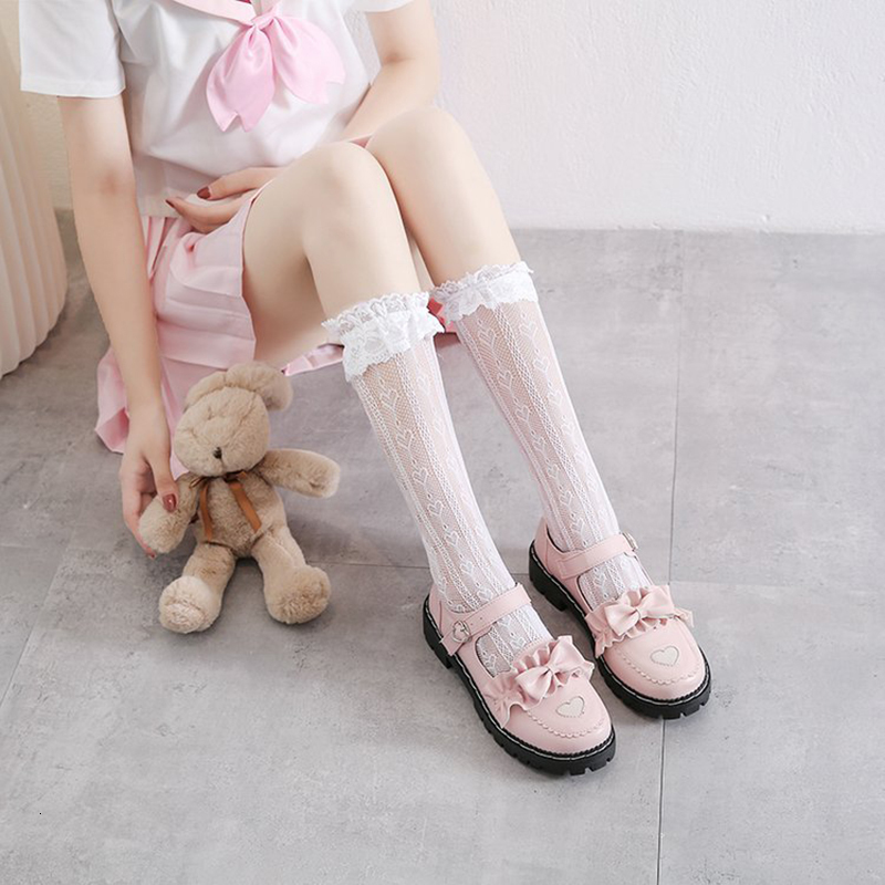 LoveLive Lolita Shoes Girl High School Student Shoes PU Leather Heart-Shaped Bowknot Shoes Kitten Heels Mary Jane Shoes