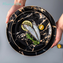 Nordic Steak Plate Marble Household Creative Ceramic Tableware Supplies Western Style Restaurant Dinner Luxurious Serving Dish