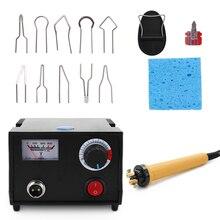 Pluma de pirograbado de madera con temperatura ajustable, 110V/220V, juego de utensilio para manualidades de calabaza con cable de soldadura