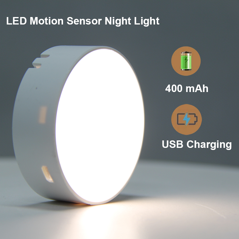 2 Pcs Pack Led Rechargeable Night Light Pir Motion Sensor Wireless Lamp For Home Kitchen Stairs Bedroom Wardrobe Cabinet Toilet