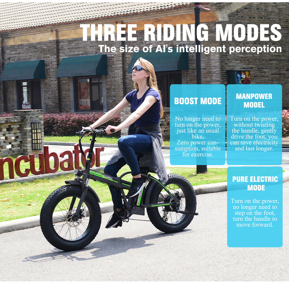 Electric Bike 500W4.0 Fat Tire Electric Bicycle  Beach Cruiser Bike Booster Bike 48v Lithium Battery Folding Mens Women's ebike 4